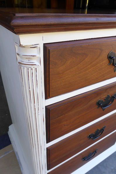 Great idea - classy white and cherry dresser, chalk paint, painted furniture
