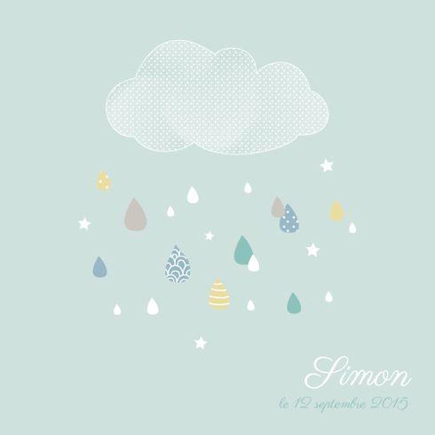 Faire-part de naissance Tombe la pluie (3 photos) by Mr & Mrs Clynk pour www.fairepartnaissance.fr #birth #announcement #cloud