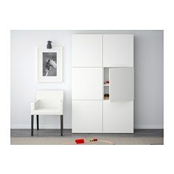 IKEA - BESTÅ, Storage combination with doors, Lappviken white, , You can choose to use either the soft-closing or push-open function. The push-opener lets you open the doors with just a light push, while the soft-closing hinges makes sure they close silently and softly.Adjustable shelves, so you can customize your storage as needed.