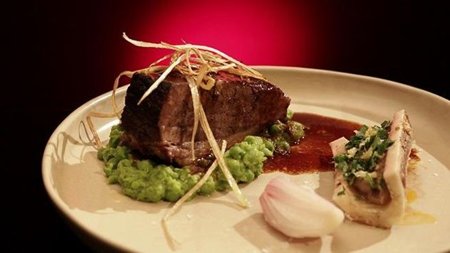 Beef Brisket with Mushy Peas and Roasted Bone Marrow