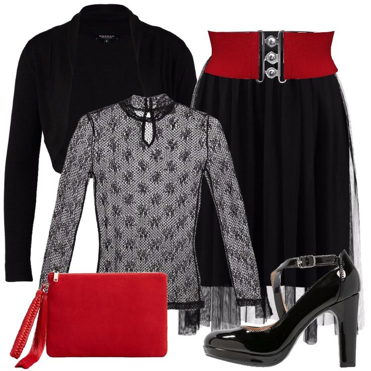Un outfit nero, con accessori rossi per festeggiare il Capodanno: gonna a campana, vestibilità al ginocchio, tulle, abbinata a maglietta a manica lunga nera, in merletto, collo alla coreana, consiglio visto la trasparenza di indossare un reggiseno in raso nero. Cardigan nero, corto, cintura elastica rossa, così come la pochette in pelle, Mary Jane nera, plateau, punta tonda, tacco a rocchetto.