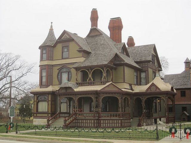 Muskegon, MI The Hackley House Built 1887-1889 The Hackley House is truly a unique example of Victorian architecture and of late nineteenth century interior decorative arts. #Victorian #House #Queen Anne