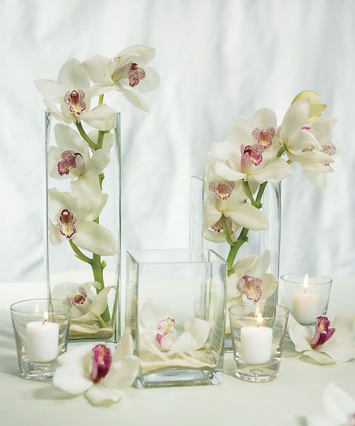 Medium Square Vase Wedding Centerpiece