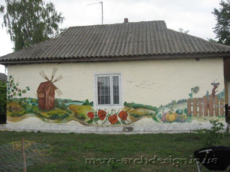 Продолжение. Ропись стен сельского дома, оформление стен дачного дома,  дизайн фасадов.
