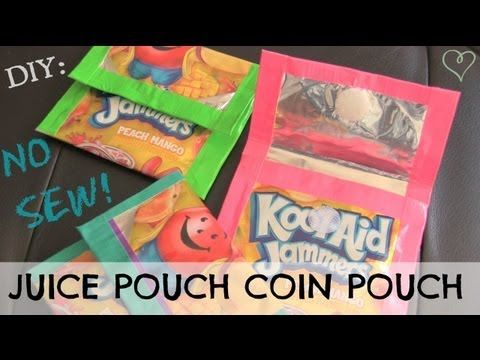 In this DIY, learn how to make no-sew coin pouches out of recycled juice pouches! The duct tape construction method makes them even more colorful. Check back next Crafty Friday for a new craft-related video from SoCraftastic. Oh, and dont forget to subscribe! Please & thanks. :)  Juice Pouch Lunch Bag Tutorial : https://www.youtube.com/watch?v=...