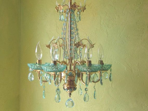 Chandelier Lighting Italian Brass And Aqua Crystal By Queendecor