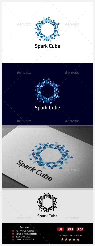 Spark Cube Logo Template Vector EPS, AI #design #l…