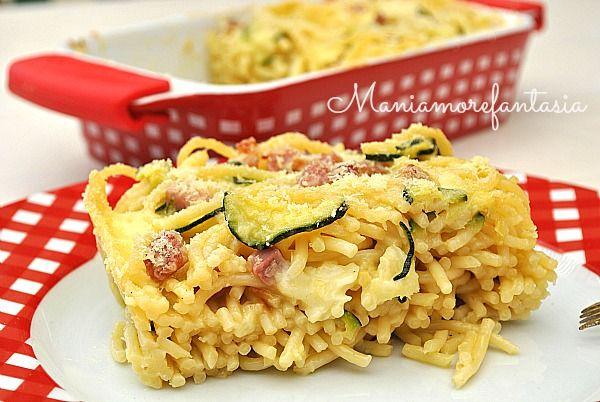 Timballo spaghetti zucchine e salsiccia