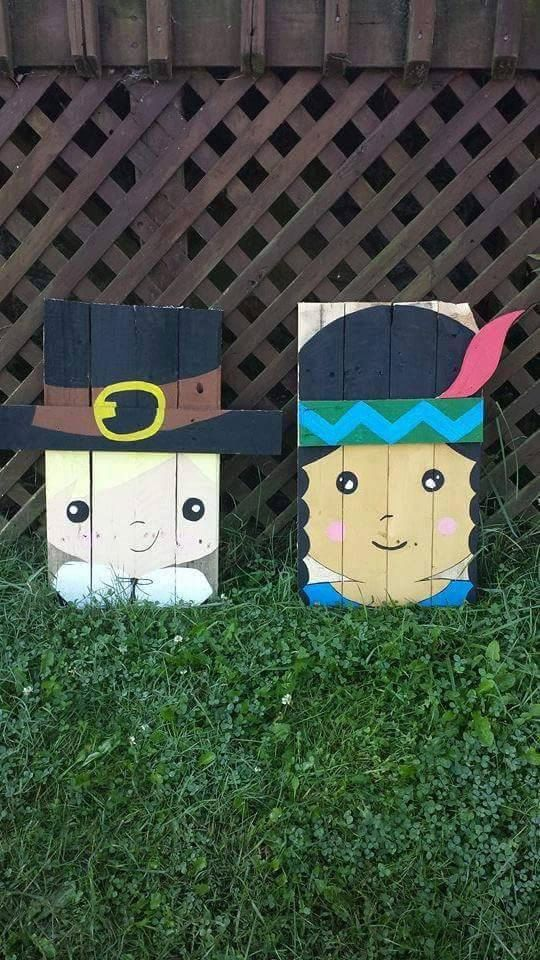 Cute Pilgrim and Native American by PrimitivePaintings on Etsy