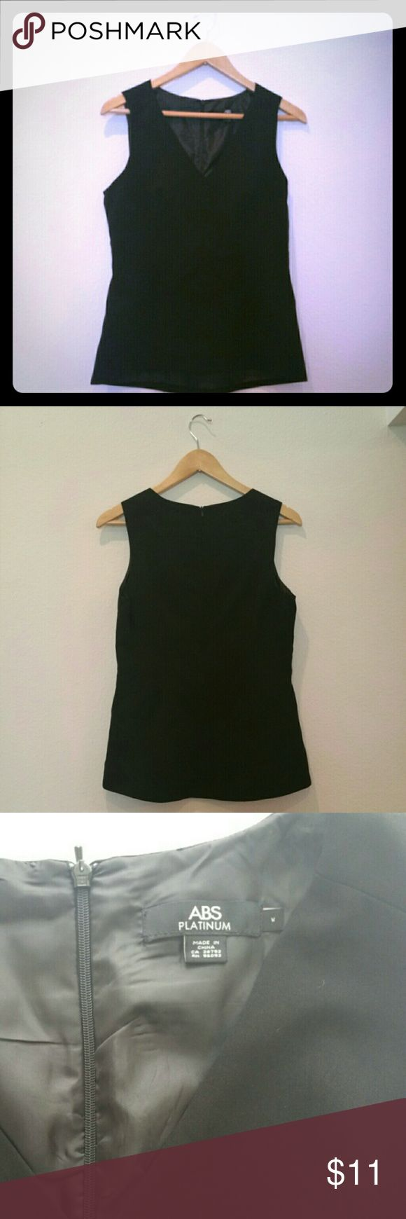 "ABS Platinum Black Peplum Top Sleeveless V-neck fully lined top. Slight hi-lo feature. 19"" bust, 25"" length. Abs Platinum Tops Blouses"