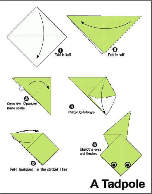 Easy Origami For Kids.: Tadpole
