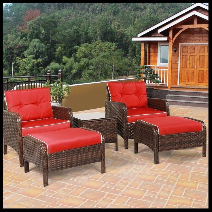 5 Pcs Rattan Furniture Set Cushioned Outdoor Patio Garden Chairs Table Stools  #5PcsRattan