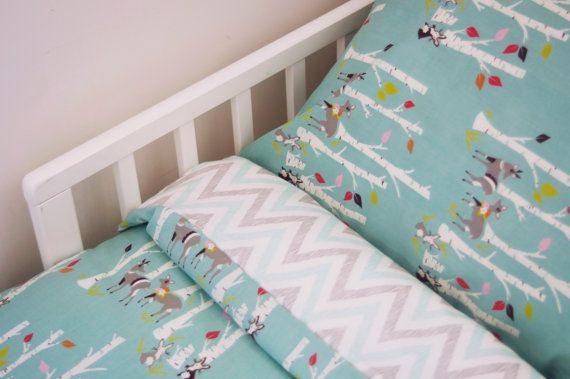 Winter Woodlands 100% organic cotton Duvet Cover and Pillowcase on Etsy, $120.00 AUD