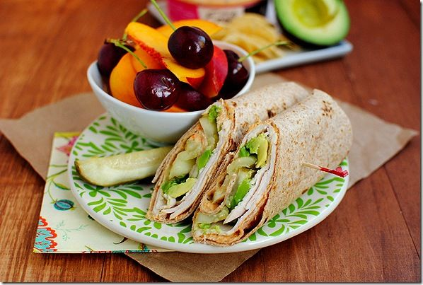 5 Minute Lunch: Turkey, Avocado & Hummus Wrap. Add celery instead of pickles?