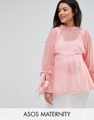 ASOS Maternity Smock Top with Tie Sleeves