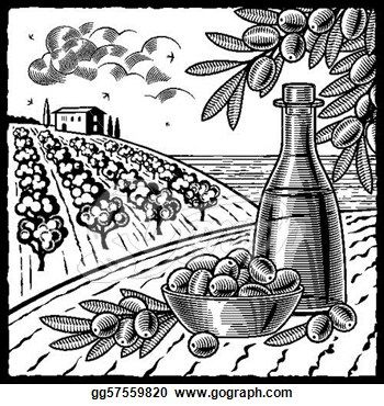 Vintage Printable Olive Tree Drawing Retro Landscape