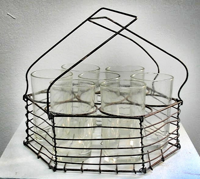 Wire basket with tea glasses (pcs 15)