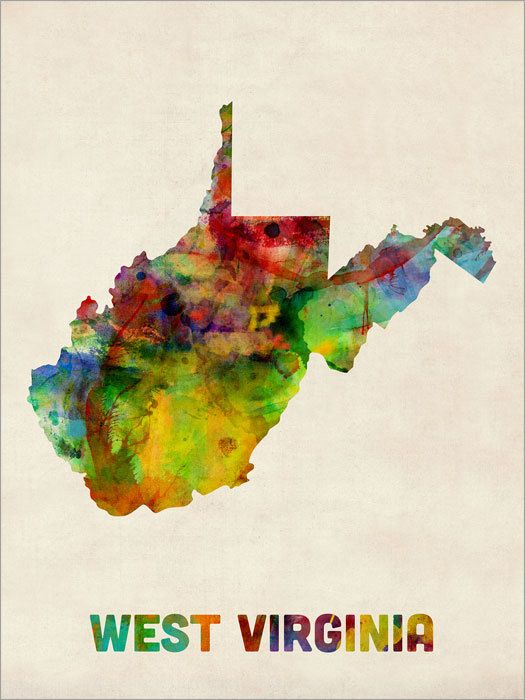 West Virginia Watercolor Map USA Art Print 12x16 to by artPause, £12.99