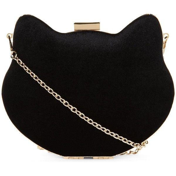 New Look Black Cat Box Clutch Bag found on Polyvore featuring bags, handbags, clutches, black, kisslock purse, kiss lock handbags, chain handle handbags, chain strap purse and chain-strap handbags