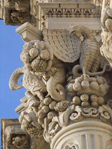 Lecce. Dettaglio della magnifica facciata della Basilica di Santa Croce. Foto Bolognini