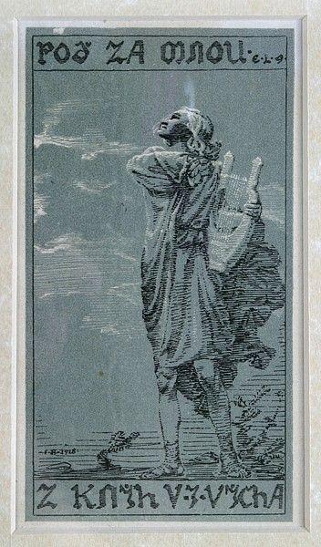 František Bílek  Poď za mnou  dřevoryt, 1918