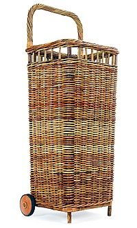 Large French Country Market Cart-antique, brocante,beach, wicker, willow,rattan,wheels,fleamarket,shopping,handled