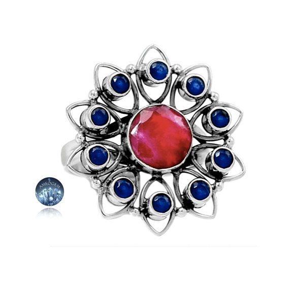 Sz 8.5, Genuine Indian Round Facet Ruby & Indian Sapphire Gemstones, 925 Solid Sterling Silver Star Flower Statement Ring Jewelry!! by AmeogemJewellery on Etsy