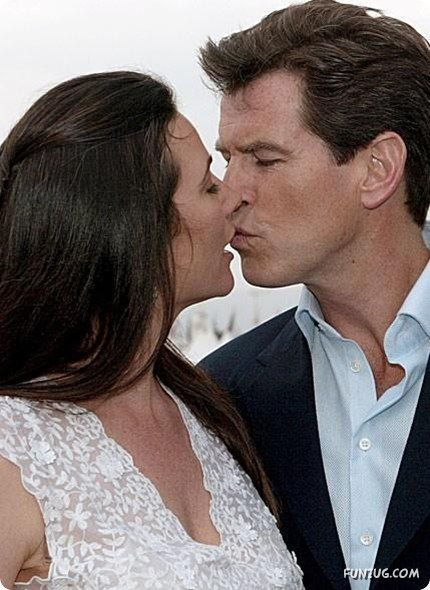 Irish-born American actor Pierce Brosnan kisses his wife ...