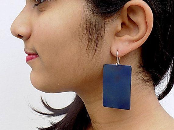 titanium earrings geometrical earringsblue earringsfor by atermono