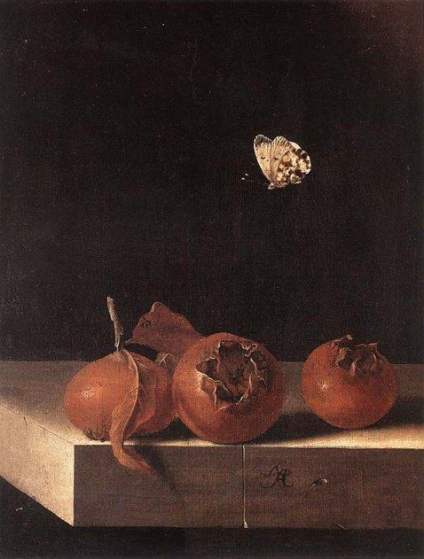 "c. 1705 Oil on paper on panel, 27 x 20 cm Private collection - Adriaen Coorte. ""Whenever you see flies or insects in a still life—a wilted petal, a black spot on the apple—the painter is giving you a secret message. He's telling you that living things don't last—it's all temporary. Death in life. That's why they're called natures mortes. Maybe you don't see it at first with all the beauty and bloom, the little speck of rot. But if you look closer—there it is."" Donna Tartt, The Goldfinch"