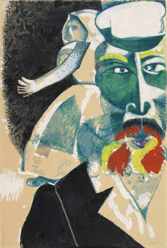'Mes Parents' (My Parents) by Marc Chagall (Bielorusian-French, 1887-1985) gouache & watercolor on paper (1912)