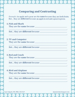 Free - Expressive Language: Comparing and Contrasting Worksheet with Cues