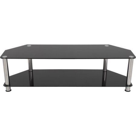AVF TV Stand for up to 65 inch TVs, Black Glass, Chrome Legs
