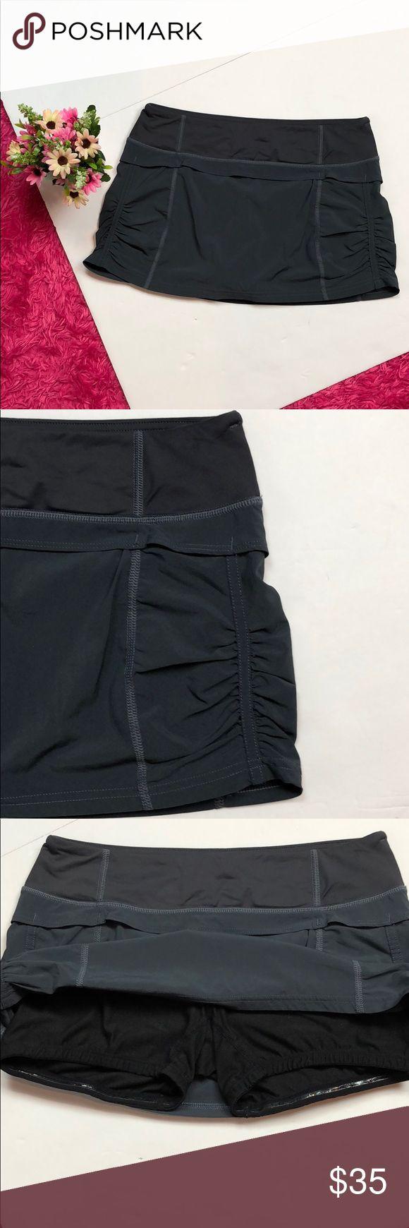 "Lululemon Gray Skort Lululemon Gray skirt with shorts underneath   Size 4   Polyester/ spandex /nylon /Lycra spandex   Drawstring waist   Waist 13.5"" Length 11"" lululemon athletica Shorts Skorts"