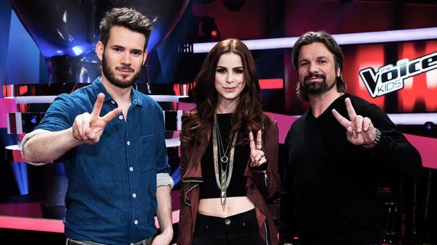 """Die Jury aus """"The Voice Kids"""": Johannes Strate, Lena Meyer-Landrut, Henning Wehland"""
