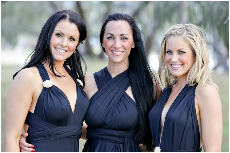 Black Convertible Bridesmaid Dress by http://lucyandloo.com.au    Wrap and Twist these Convertible Dresses into over 50 different styles. Match your bridesmaids.. or let them style differently to suit their shape.