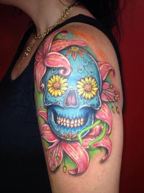Sleeve Sugar Skull Tattoo - http://16tattoo.com/sleeve-sugar-skull-tattoo/