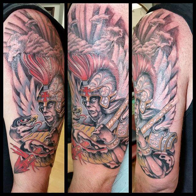 St. Michael killing the serpent #angels #angel #warrior #archangel #pretorian #roman #italian #catholic #tattoo #1001troubles #freddcheeto #tattooshop #moiriders #freddcheetham #tattoos #RhodeIsland #providence #Warren