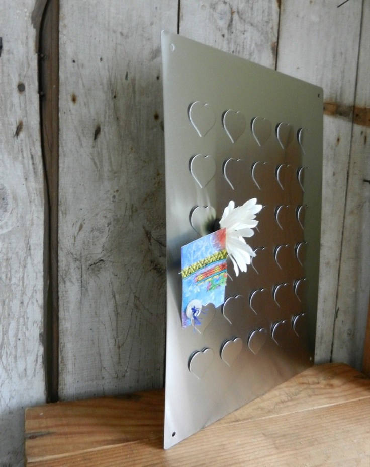 stainless steel magnetic bulletin board with heart design