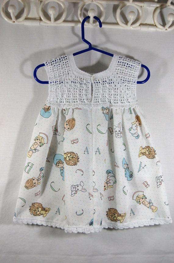 Beautiful Top Crochet girl's dress by whitedaisys on Etsy