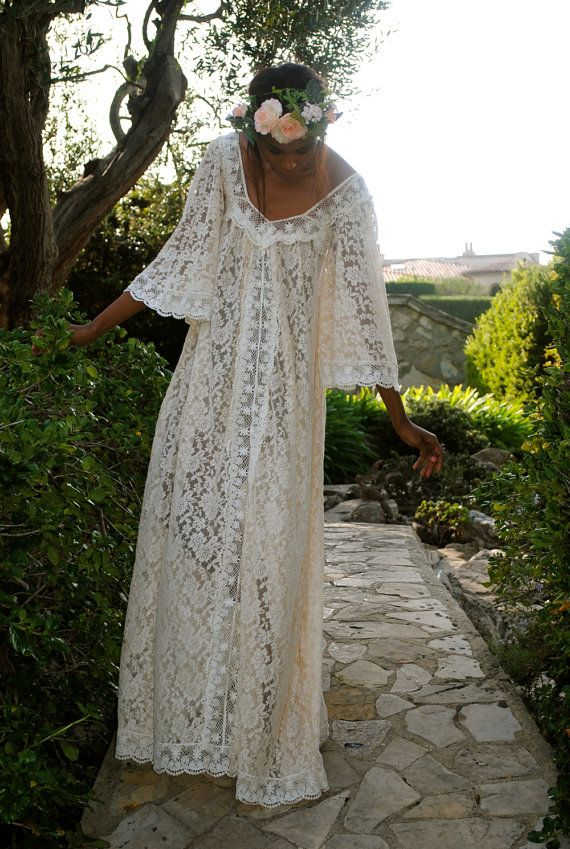 Handmade lace angel sleeve caftan maxi dress hippie for Lace maxi wedding dress