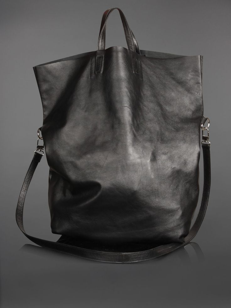 I could make this - LEATHER BAG WITH DETACHABLE INNER POCKET AND SHOULDER STRAP - HEIGHT: 44CM WIDTH: 35CM DEPTH:14CM VAR: BLACK