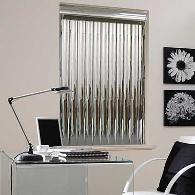 Transform your room with sleek and contemporary mirrored vertical blinds.