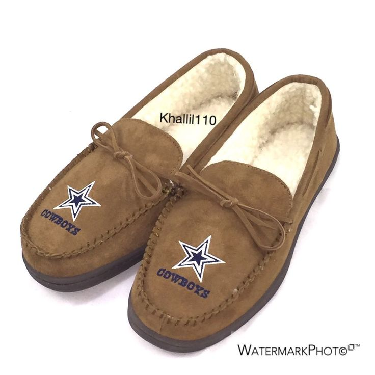 NFL Dallas Cow Boys Tan Moccasin Hard Rubber Men's Slippers Size (S-XL) #ForeverCollectibles #DallasCowboys
