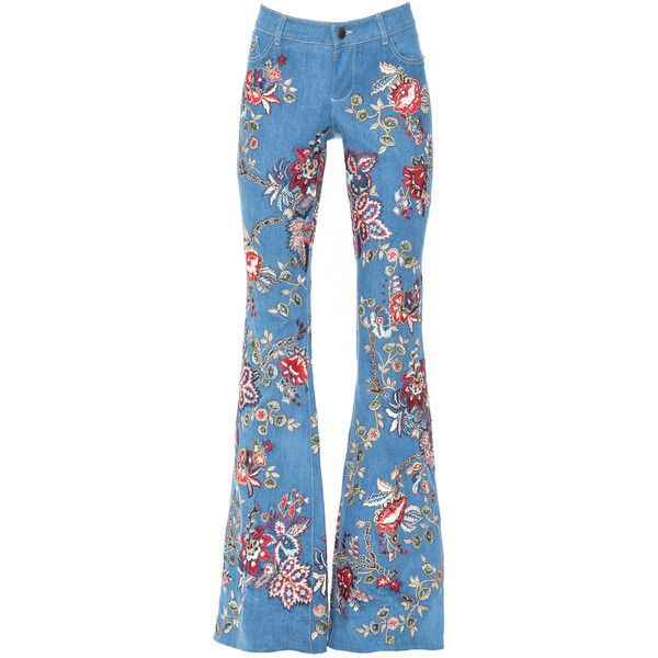 RYLEY EMBROIDERED LOW RISE BELL JEAN ❤ liked on Polyvore featuring jeans, low rise jeans, low rise flared jeans, embroidery jeans, embroidered jeans and blue jeans