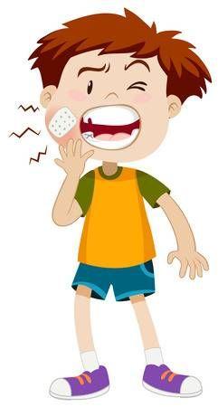 Niño pequeño que se ilustración de dolor de muelas dfa3b77036b