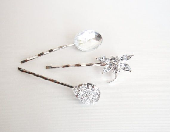 a trio of sparkling beautiful hair pins for a beautiful wedding day hair do, Dragonfly starfish hair pins white wedding by ZoeRiverBridal