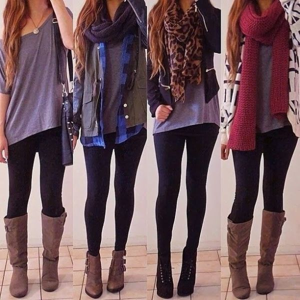 Cute outfits with leggings/skinnies, boots and long shirts/cardigans.