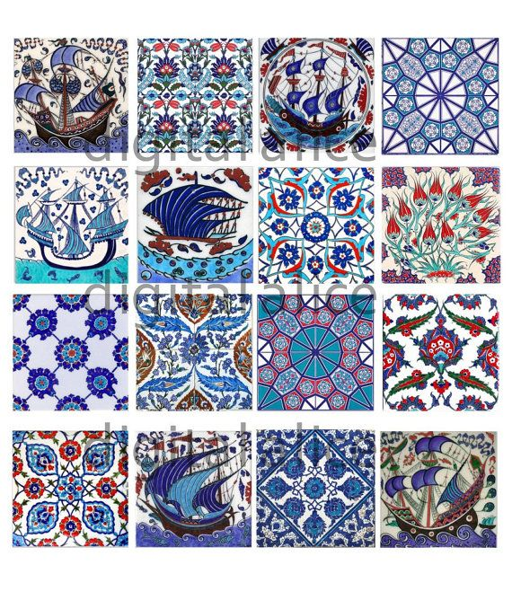 ANTIQUE IZNIK TILES - Instant Download Paper Crafts collage sheet - blue and white Antique Turkish tiles -decoupage,craft squares