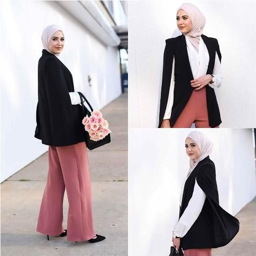 cape blazer suit hijab outfit- Hijab fashion online http://www.justtrendygirls.com/hijab-fashion-online/